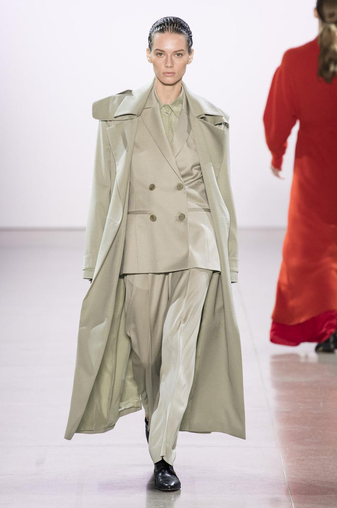 RYAN ROCHE Tailored wool gabardine trench coat