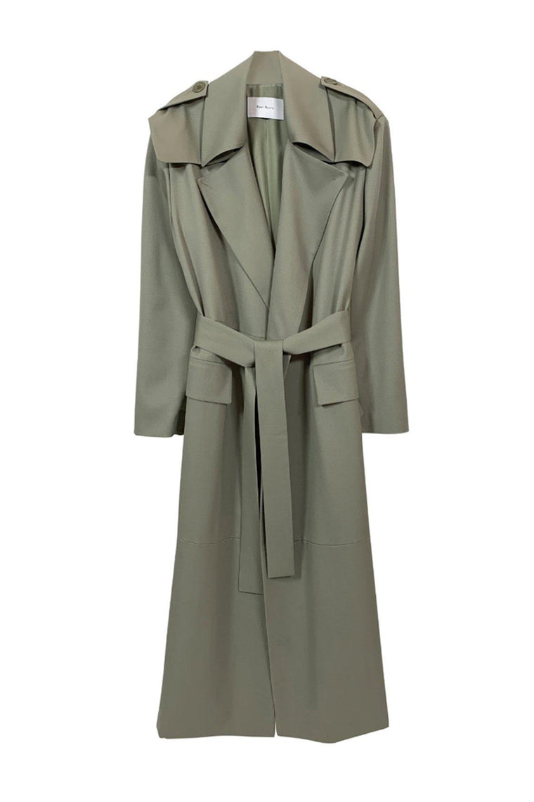 Tailored wool gabardine trench coat in page sage