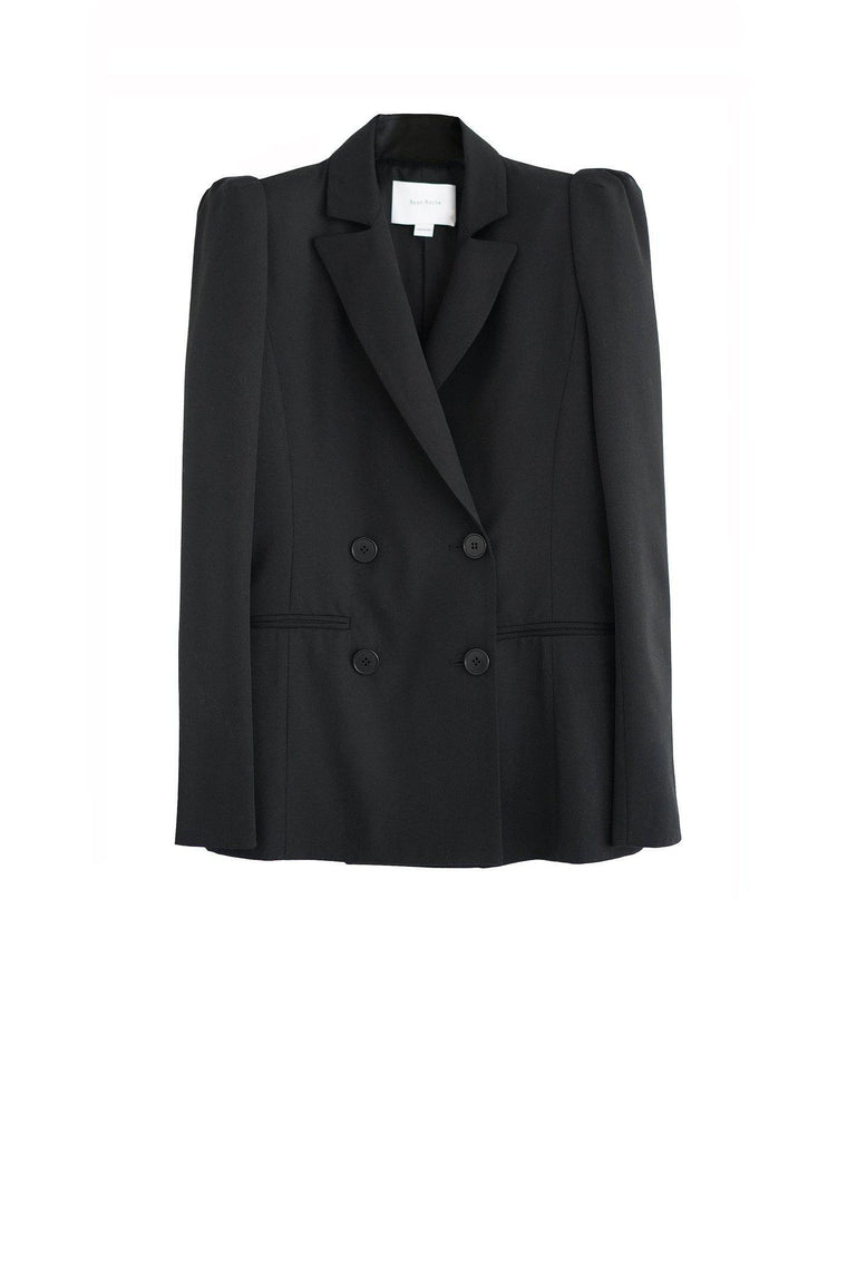 Wool gabardine double breasted blazer with puff sleeve