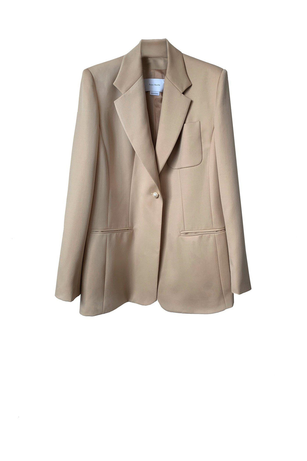 RYAN ROCHE Wool gabardine tailored blazer with single pearl button