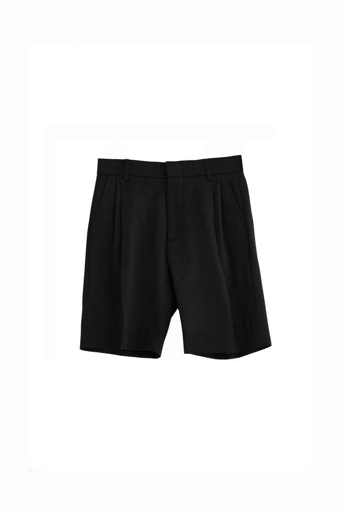RYAN ROCHE Wool gabardine tailored boy short in classic black