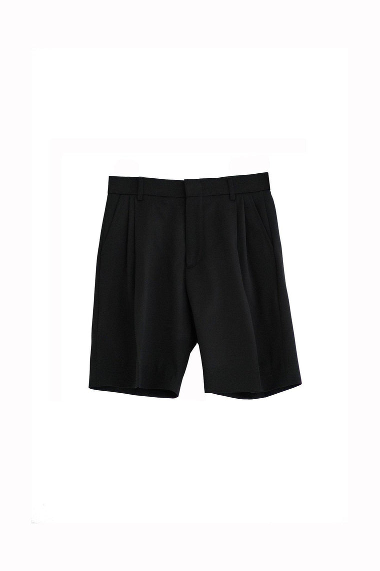 Wool gabardine tailored boy short in classic black