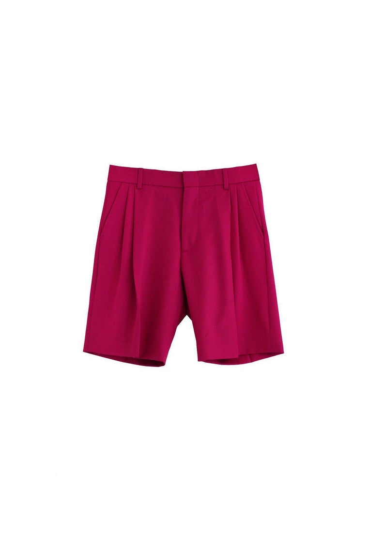 Wool gabardine tailored boy short in lipstick pink