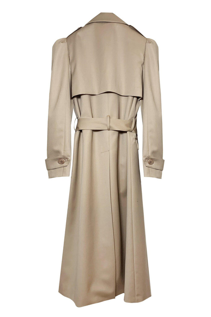 RYAN ROCHE Wool gabardine trench coat with puff sleeve