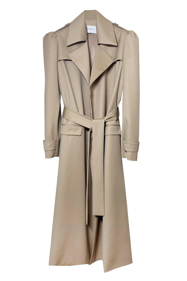 Wool gabardine trench coat with puff sleeve in camel