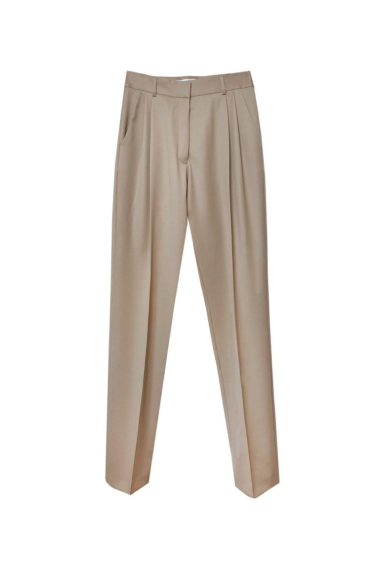 Wool gabardine trouser with front pleats in camel