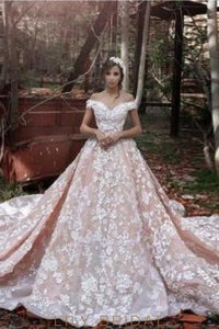 Luxury Floral Applique Off Shoulder Long Ball Wedding Gown With Cathedral Train