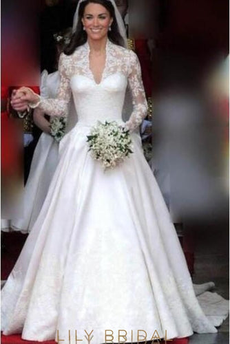 Princess V-Neck Long Sleeve Court Train Satin Wedding Dress With Lace