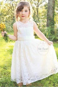Jewel Neck Keyhole Back A-Line Floor-Length Lace Flower Girl Dress With Bowknot Detail