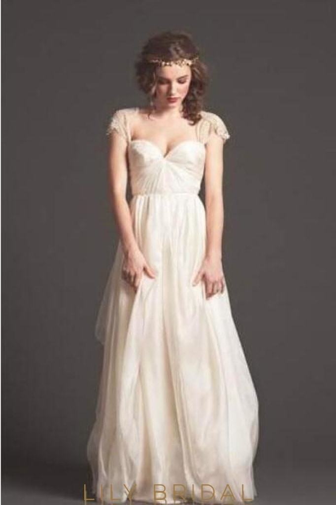 Champagne Satin Chiffon Wedding Dress With Beaded Cap Sleeve