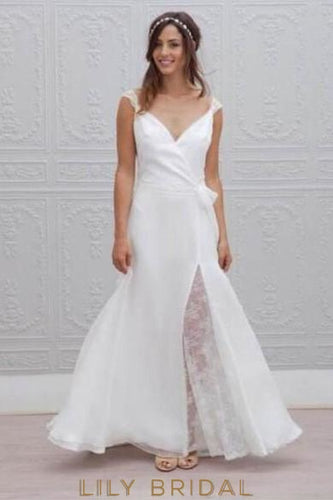Mermaid V-Neck Open Back Sweep Train Satin Bridal Dress With Lace