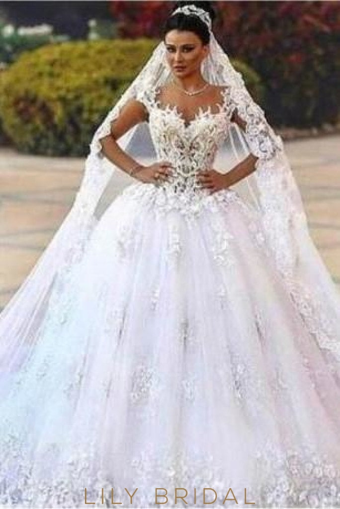 Applique Sheer Neck Cap Sleeves Long Tulle Ball Wedding Gown With Chapel Train