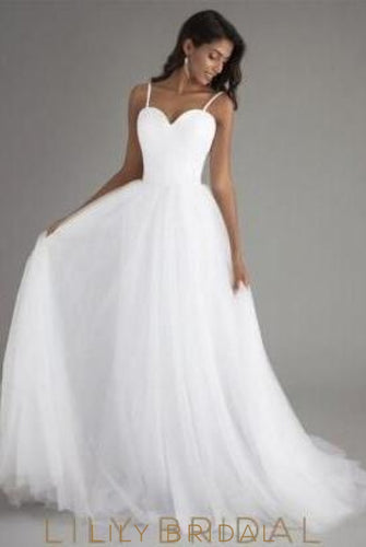 Tulle A-Line Sweetheart Spaghetti Strap Sweep Train Bridal Dress