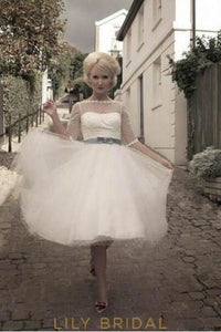 Sleeved Bateau Illusion Spotted Tulle Short Bridal Dress With Belt