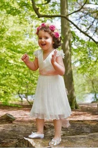 V-Neck Cut Out Back Tea-Length Pleated Chiffon Flower Girl Dress With Lace Sash