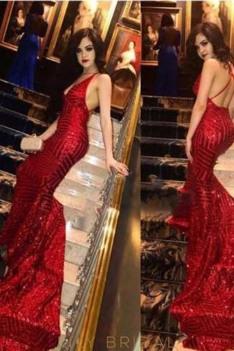 Sexy Mermaid Deep V-Neck Criss-Cross Back Burgundy Sequin Prom Dress