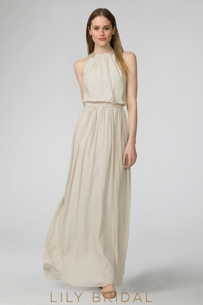 Beaded Jewel Neck Floor-Length Chiffon Champagne Prom Dress