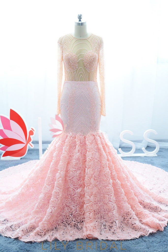 Long Sleeve Backless Crystal Beaded Mermaid Prom Dress With Floral Skirt