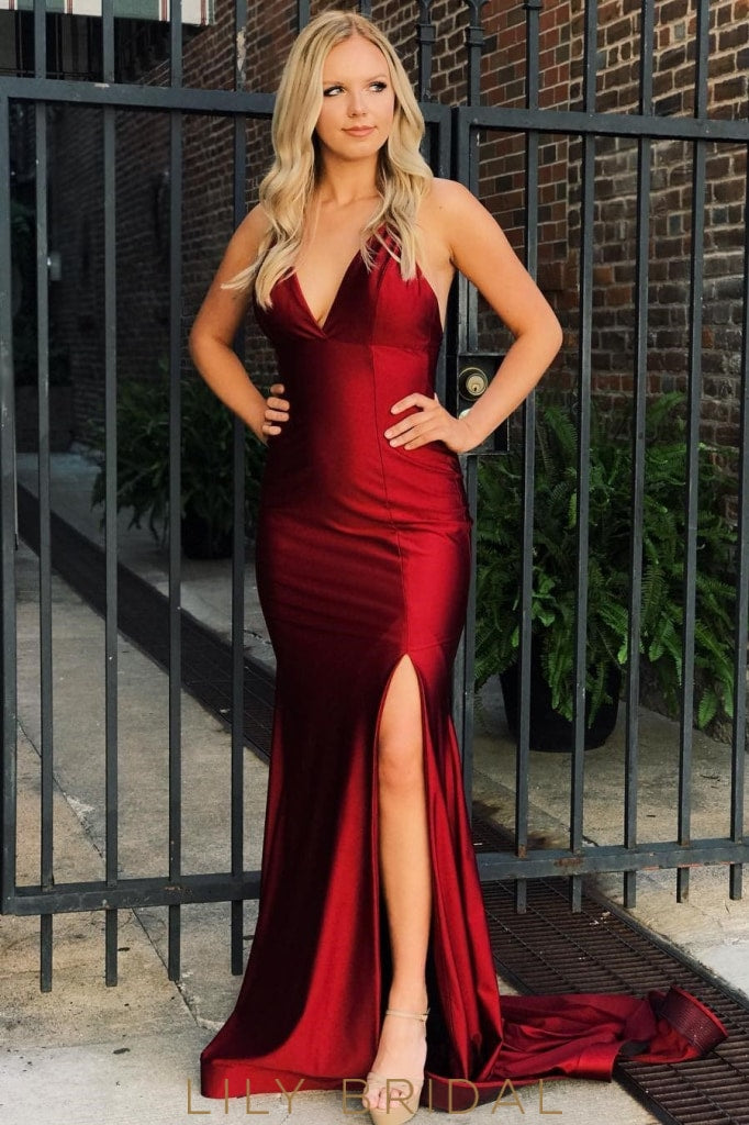 Spaghetti Straps Sleeveless Long Solid Fit And Flare Slit Prom