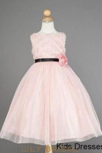 Bubblegum Tulle Bateau Neck Ball Gown Flower Girl Dress With Corsage