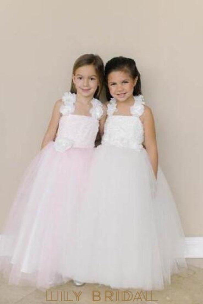 Square Neckline Floor-Length Ball Gown Flower Girl Dress With Hand-Made Flowers