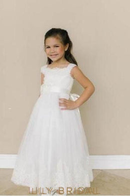 A-Line Floor-Length Lace Tulle Flower Girl Dress With Sash