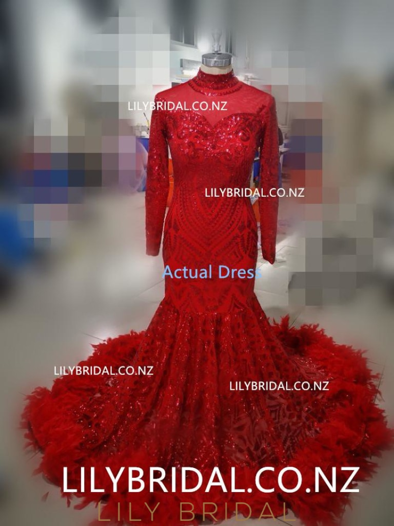 Luxury Sequin Feathers Fur High Neck Long Sleeves Long Stretch Mermaid Prom Dress