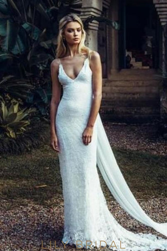 Boho Bodycon Backless Spaghetti Strap V-Neck Lace Wedding Dress With Sweep Train