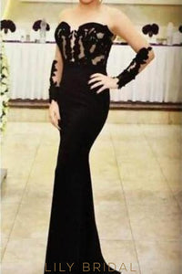 Applique Illusion Sheer Neck Long Sleeves Floor-Length Solid Mermaid Evening Dress