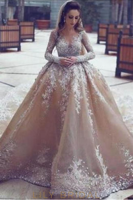 Applique Illusion Sheer Neck Long Sleeves Organza Ball Wedding Gown With Cathedral Train