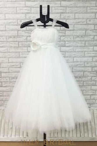 A-Line Strap Straight Across Neck Tulle Flower Girl Dress With Bowknot Back Detail