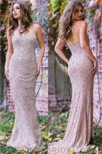 Backless Straight Across Neckline Sweep Train Prom Dress With Beads