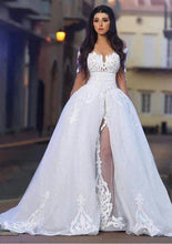 Applique Illusion Off Shoulder Long Sleeves Long Solid Slit Tulle Ball Wedding Gown