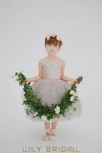 Silver Spaghetti Strap Tea-Length Ball Gown Flower Girl Dress With Sweetheart Neckline