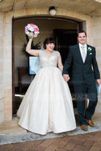 Luxury Beading Illusion V-Neck Cap Sleeves Plus Size Long Satin Ball Wedding Gown