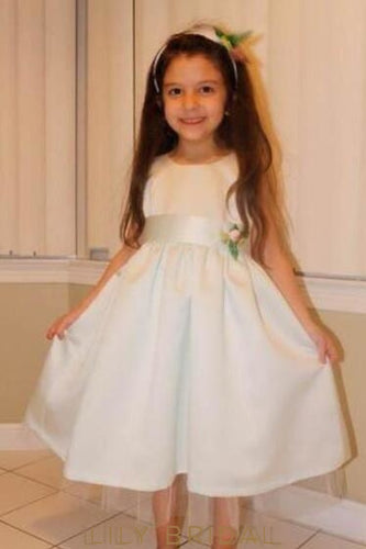 A-Line Jewel Neck Tea-Length Satin Flower Girl Dress With Belt
