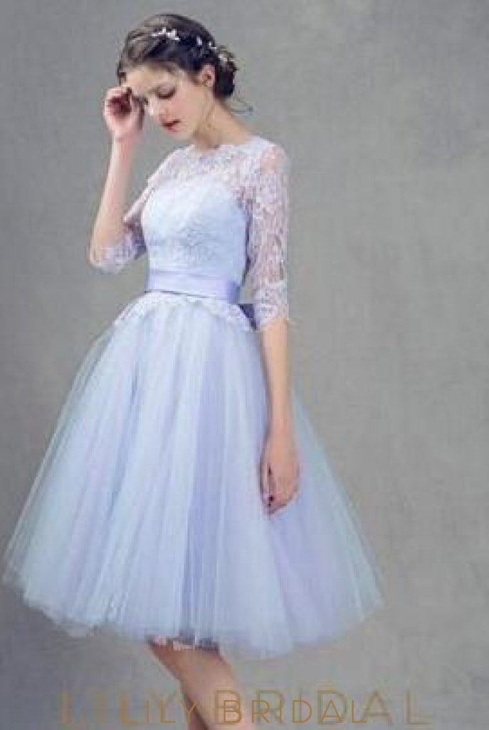Princess Scoop Neck Lace Tulle Knee-Length With Sashes / Ribbons Bridesmaid Dresses