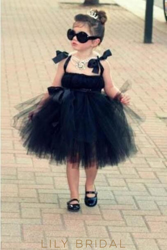 Black Tulle Backless Strap Ball Gown Flower Girl Dress With Ribbon