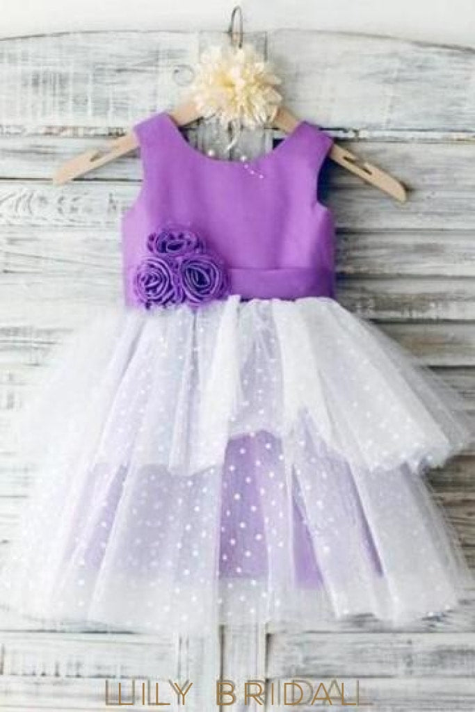 A-Line Knee-Length Scoop Layered Flower Girl Dress With Corsage