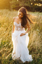 Lace Sweetheart Strapless Long Sheath Chiffon Boho Wedding Gown with Sweep Train