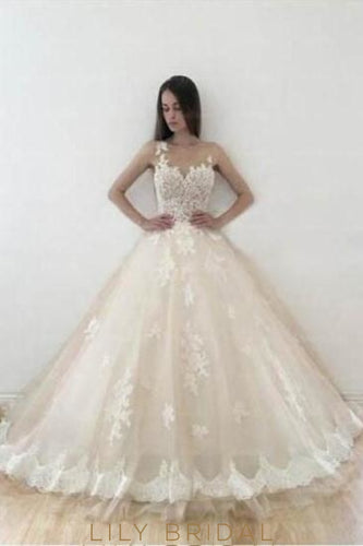 Lace Illusion Sheer Neck Sleeveless Long Ball Wedding Gown With Court Train