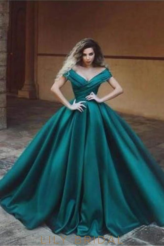 776a9f8afab Off Shoulder Short Sleeves Floor-Length Solid Ruched Ball Gown Evening Dress