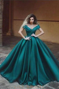 Off Shoulder Short Sleeves Floor-Length Solid Ruched Ball Gown Evening Dress