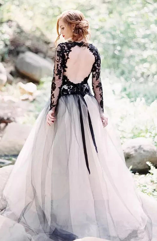 Elegant Applique Illusion V-Neck Long Sleeves Open Back Floor-Length Wedding Dress
