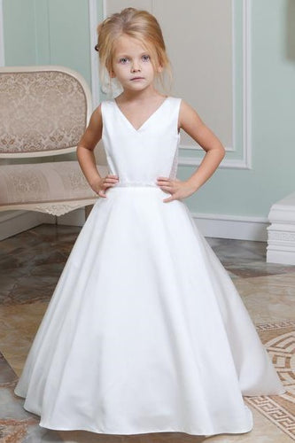 Adorable Beading V-Neck Sleeveless Long Satin Princess Flower Girl Dress with Sweep Train