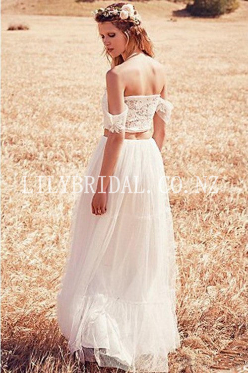 Applique Lace Off Shoulder Two Piece Long Sheath Tulle Bridal Wedding Dresses