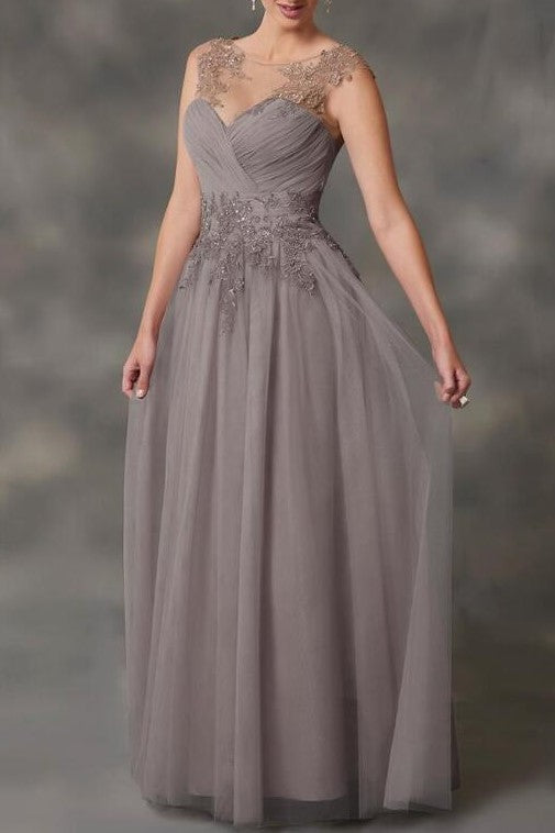 Applique Illusion Scoop Neck Long Sleeves Two Piece Mother Of The Bride  Dresses