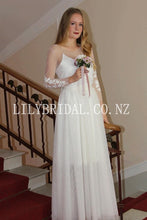 Applique Illusion Sheer Neck Long Sleeves Floor-Length Sheath Tulle Bridal Wedding Dress