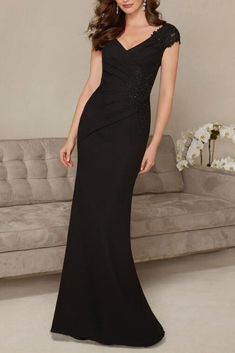 Applique Illusion V-Neck Cap Sleeves Long Mermaid Mother Of The Bride Dress with Sweep Train