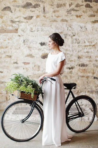Vintage Bateau Neck Short Sleeves Zipper-Up Two Piece Long Sheath Chiffon Bridal Wedding Dresses